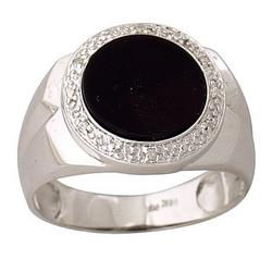 Men's Onyx Diamond Ring in 10K White Gold