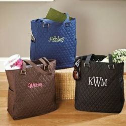 Quilted Microfiber Tote Bag