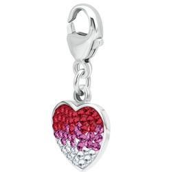 Sterling Silver Fading Red Heart Charm