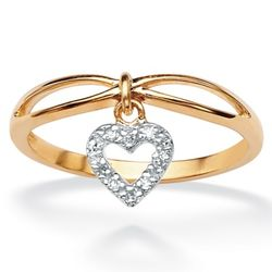 Tutone 10k Gold Diamond Accent Heart Charm Ring