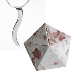 1st Anniversary 18K White Gold Ogee Necklace in Origami Box