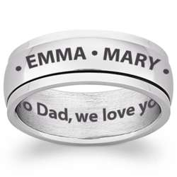 Stainless Steel Engraved Name and Message Spinner Band