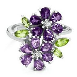 Sterling Silver Amethyst and Peridot Flower Ring
