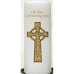 Gold Cross Christening Candle