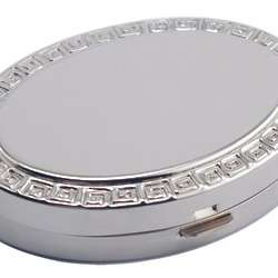 Engraved Oval Pill Box