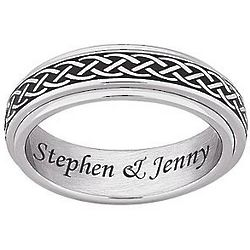 Personalized Men's Stainless Steel Celtic Knot Spinner Band