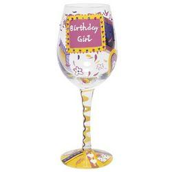 Hand Painted Birthday Girl Wine Glass