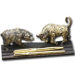 Bronze Bull and Bear Pen Holder