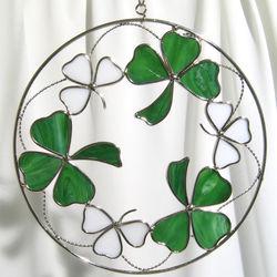 "Irish Shamrocks on an 8"" Wire Ring Suncatcher"