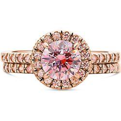 Rose Gold Plated Halo Swarovski Zirconia Engagement Ring Set