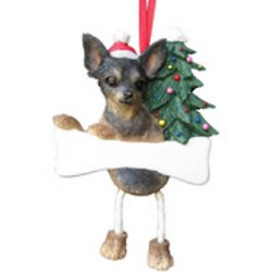 Chihuahua Black and Tan Dangling Legs Dog Ornament