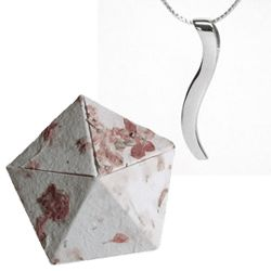 1st Anniversary 18K White Gold Small Ogee Necklace in Origami Box