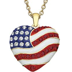 God Bless America Heart Pendant