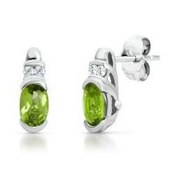 Sterling Silver Peridot Earrings with Lab-Created White Sapphires