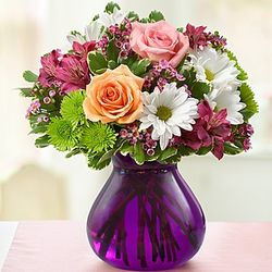 Mother's Devotion Flower Bouquet in Purple Vase