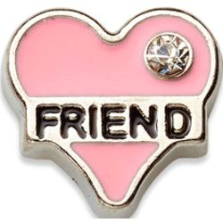 Pink Friend Heart Charm