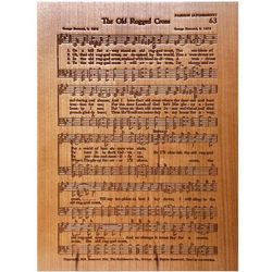 Personalized The Old Rugged Cross Etched Wood Hymn Plaque