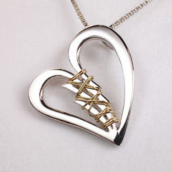 Sterling Silver Broken Heart Mended with 14k Yellow Gold Wire