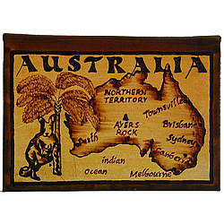 Australia Map Leather Photo Album in Natural