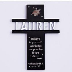 Personalized Graduation Black Wall Cross
