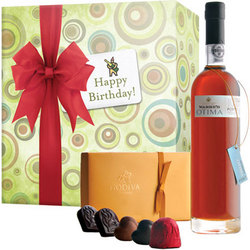 Happy Birthday Warres Otima Port and Godiva Chocolates Gift Box