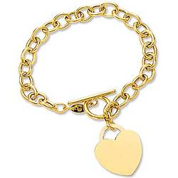 14k Yellow Gold Heavy Chain Toggle Heart Bracelet