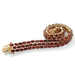 Garnet 18k Gold Over Sterling Silver Bracelet