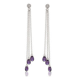14k White Gold Amethyst Bezel Diamond Drop Earrings