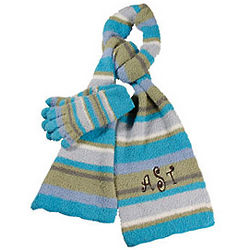 Striped Personalized Plush Scarf and Gloves Set