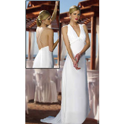 Strapped V-Neck A-Line Chiffon Beach Wedding Dress