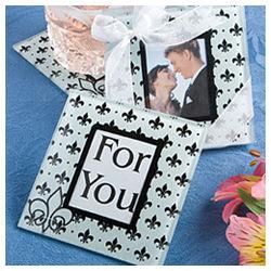 Fleur de lis Glass Photo Coaster