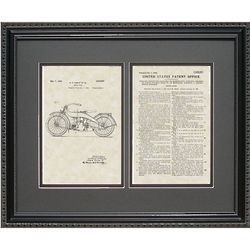 Harley Motorcycle 16x20 Framed Patent Art