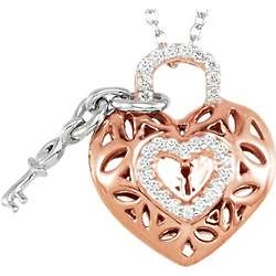 Rose-Plated Diamond Heart Pendant with Key