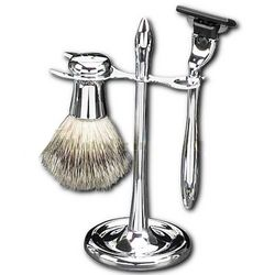 Mach 3 Razor with Pure Badger Brush on Chrome Stand