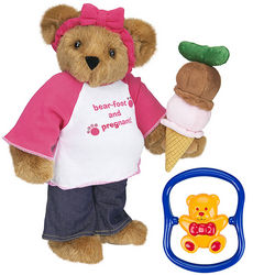 Bear-Foot and Pregnant Teddy Bear with Baby Bear Rattle