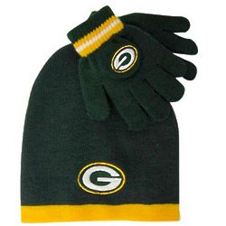 Green Bay Packers Boy's Cuffless Knit Hat and Gloves Set