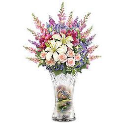 Thomas Kinkade Everett Cottage Illuminated Floral Centerpiece
