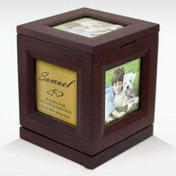 Small Photo Cube Rotating Cremation Urn