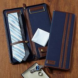 Personalized Canvas & Leather Tie Case