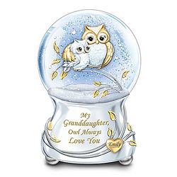 Granddaughters Personalized Owl Always Love You Glitter Globe