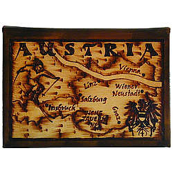 Austria Map Leather Photo Album in Natural