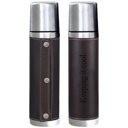Stainless Steel Insulated Bottle with Leather Wrap