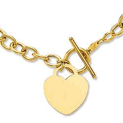 14k Yellow Gold Heavy Chain Toggle Heart Necklace