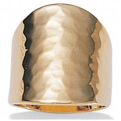 Hammered-Style 18k Gold Over Sterling Silver Ring