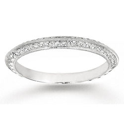 14k White Gold Prong 1/5 ct Diamond Anniversary Band