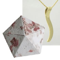 1st Anniversary 18K Yellow Gold Ogee Necklace in Origami Box