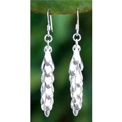 'Heavenly Dewdrops' Sterling Silver Cluster Earrings