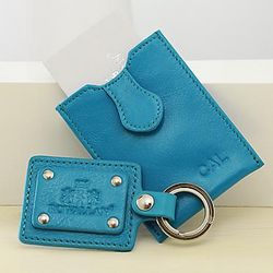 Personalized Leather Key Tag and Business Card Case