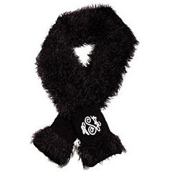 Personalized Black Fuzzy Scarf