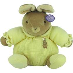 Yellow Baby Bow Plush Stuffed Rattle Bunny